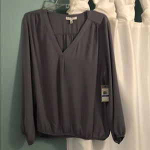 Gray blouse gathered at waist!